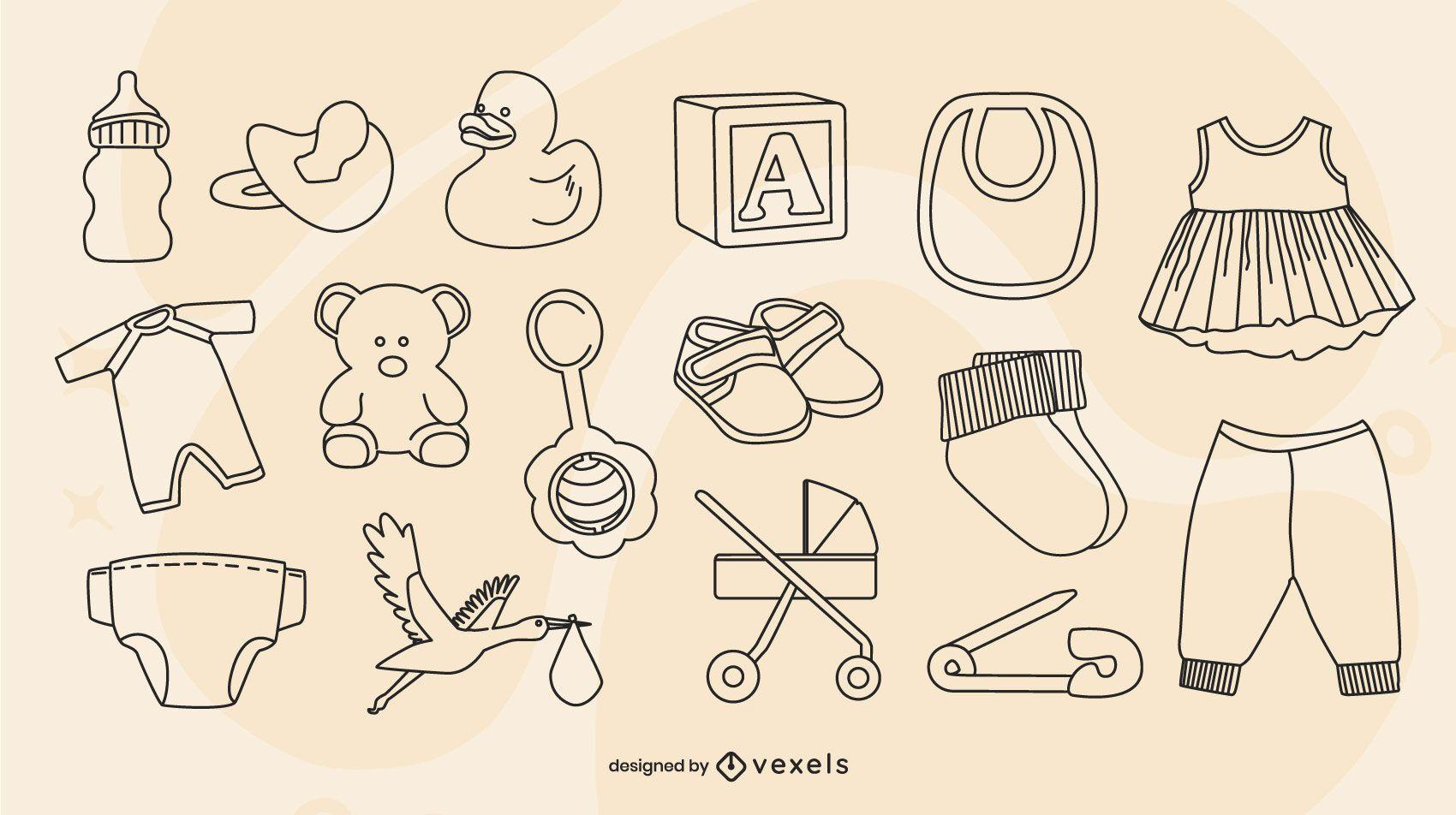Conjunto de trazos de elementos de bebé