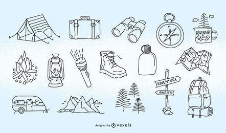 Camping element stroke set