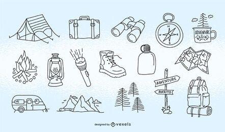 Conjunto de curso de elemento de acampamento