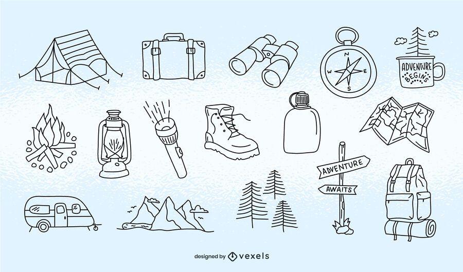 Conjunto de trazos de elementos de camping