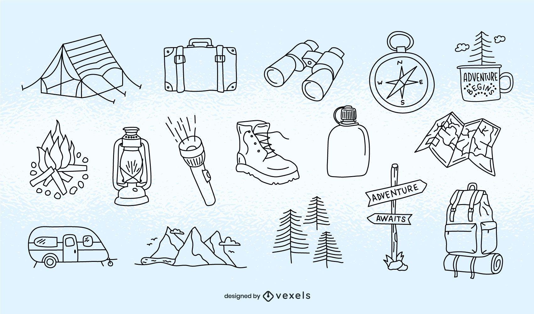 Camping element stroke set