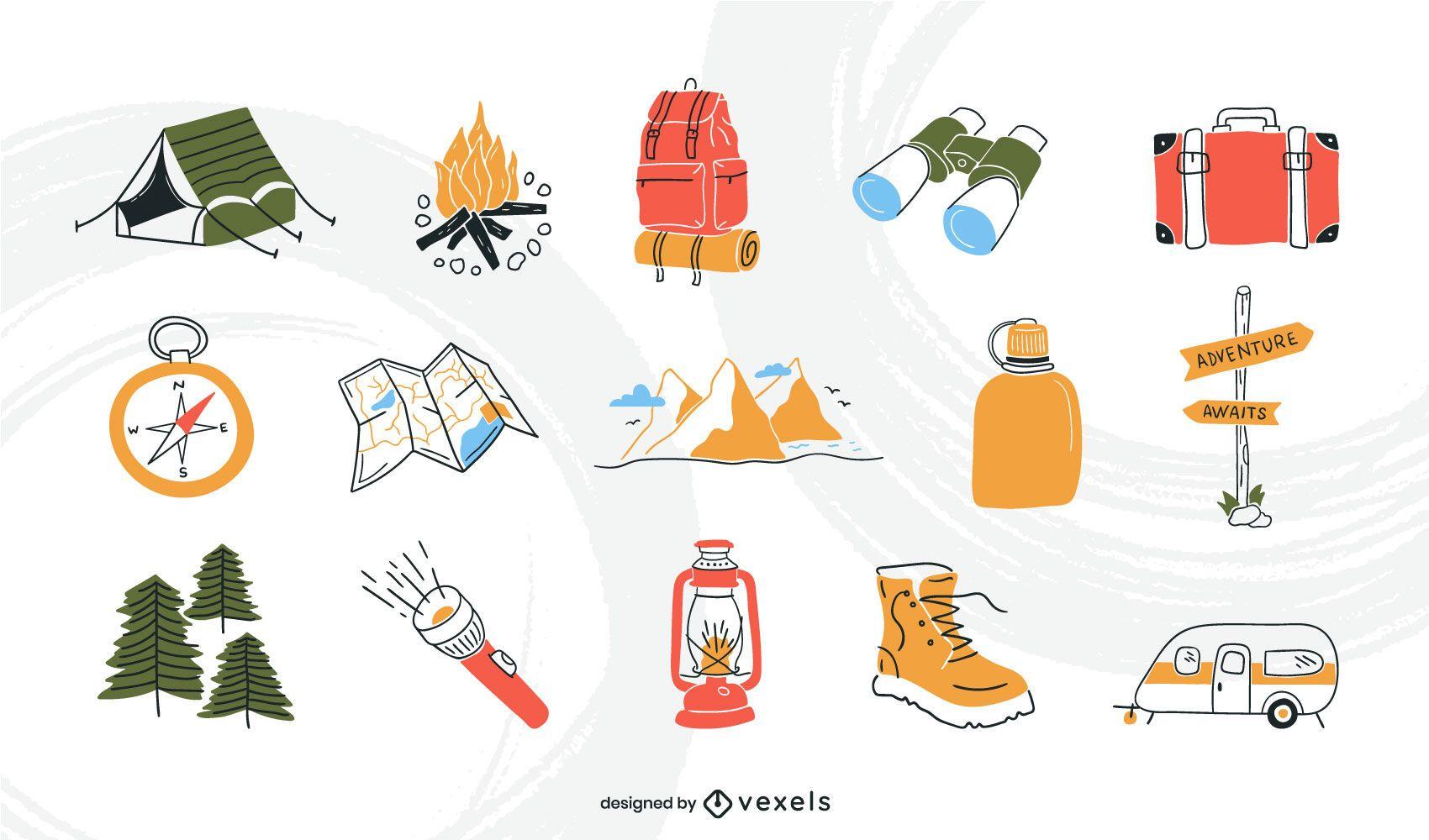 Conjunto de trazos de color de elemento de camping