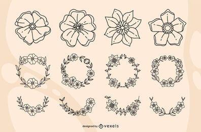 Conjunto de pinceladas florais de papoula