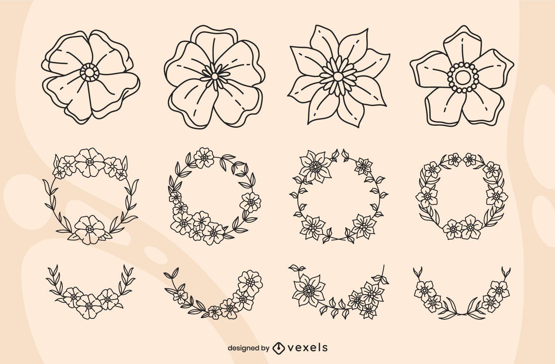 Poppy floral stroke set