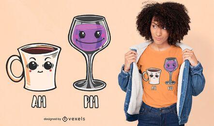 Design de camiseta com vinho e café