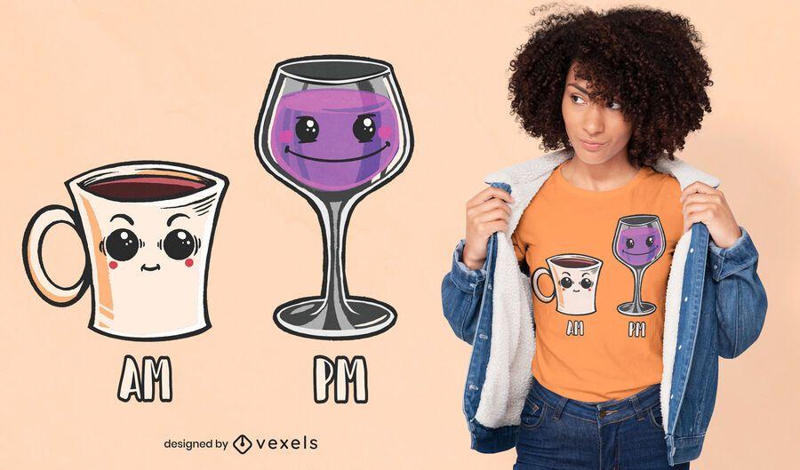 Kaffee Wein T-Shirt Design