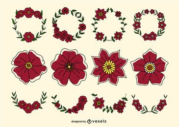 Conjunto de pinceladas de cores florais de papoula