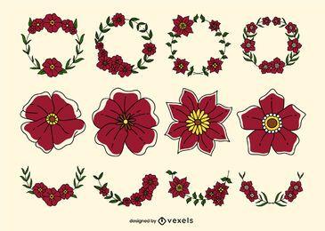 Conjunto de trazos de color floral amapola