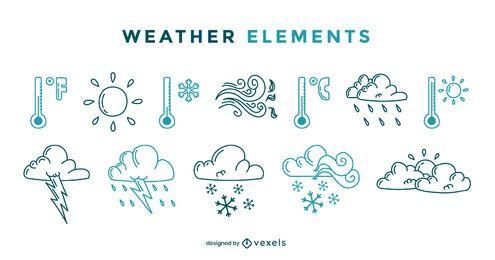 Conjunto de doodle de elementos climáticos