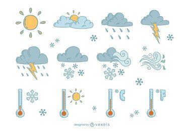 Conjunto de doodle de elementos meteorológicos