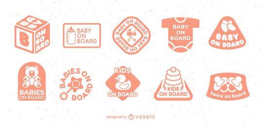 Conjunto de insignias de elementos de bebé