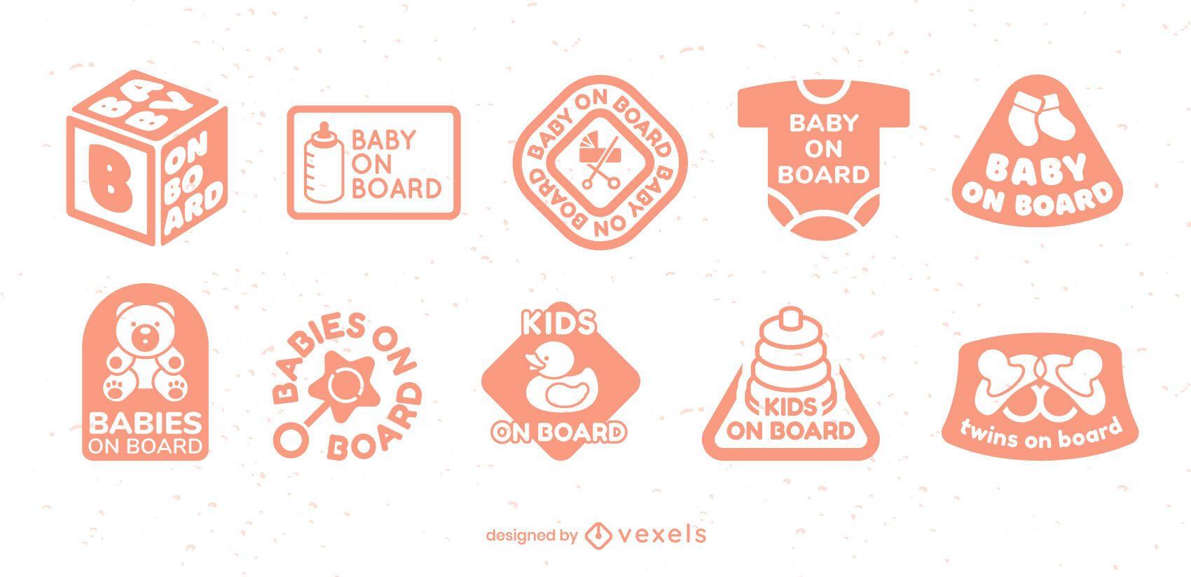 Conjunto de emblemas de elementos de bebê
