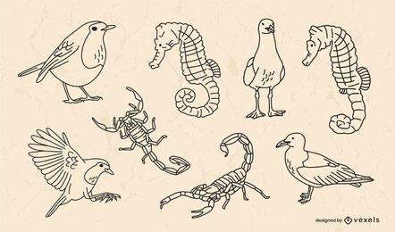 Conjunto de trazos de animales pequeños