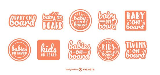 Baby on board badge set