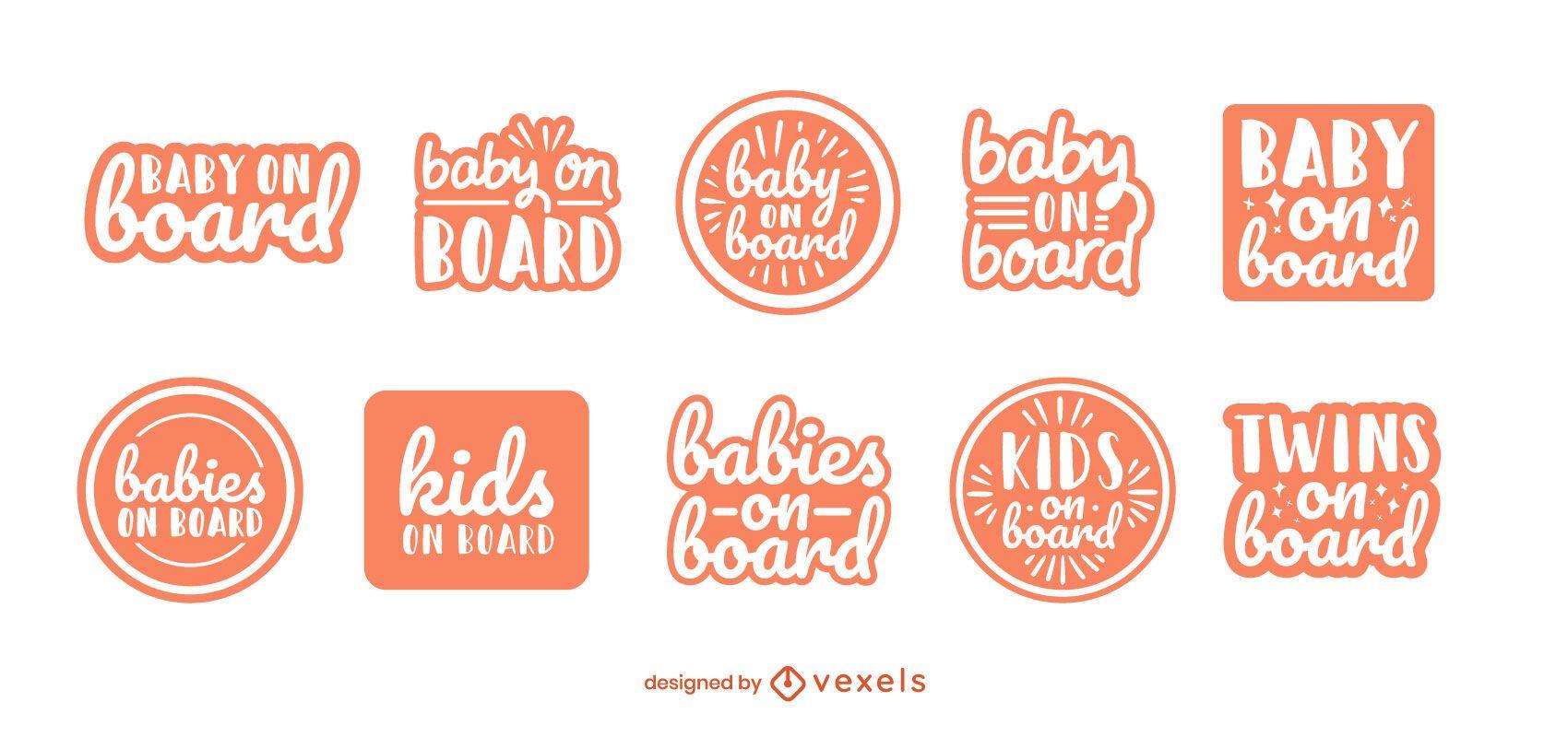 Baby on board badge set
