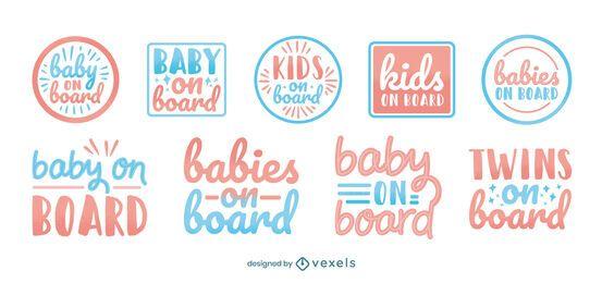 Conjunto de insignias de bebés a bordo.