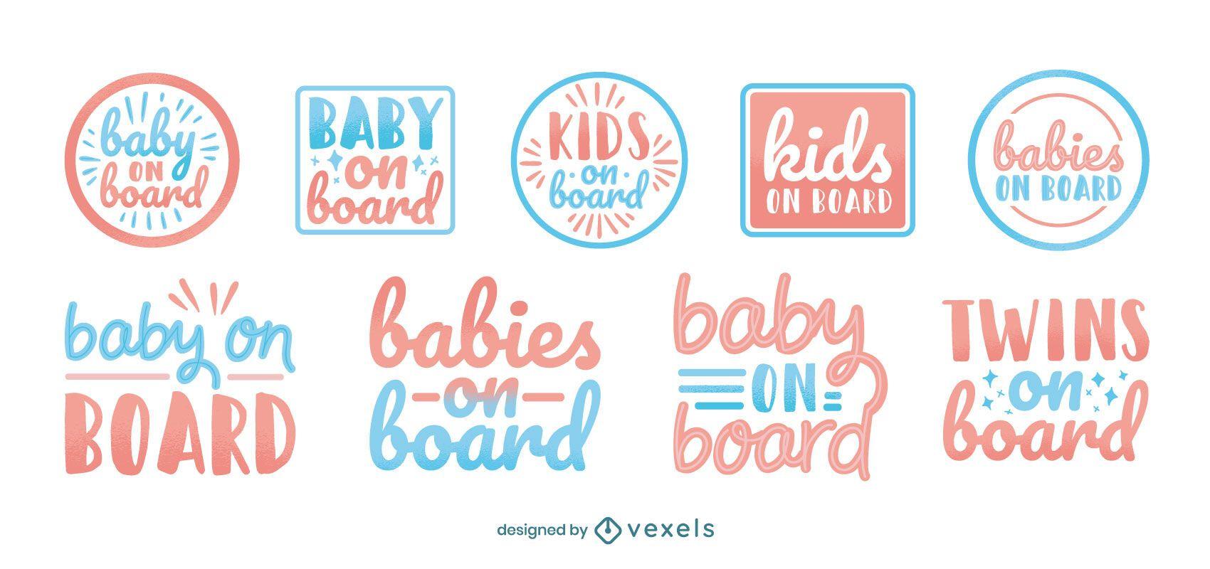 Babies on board badge set