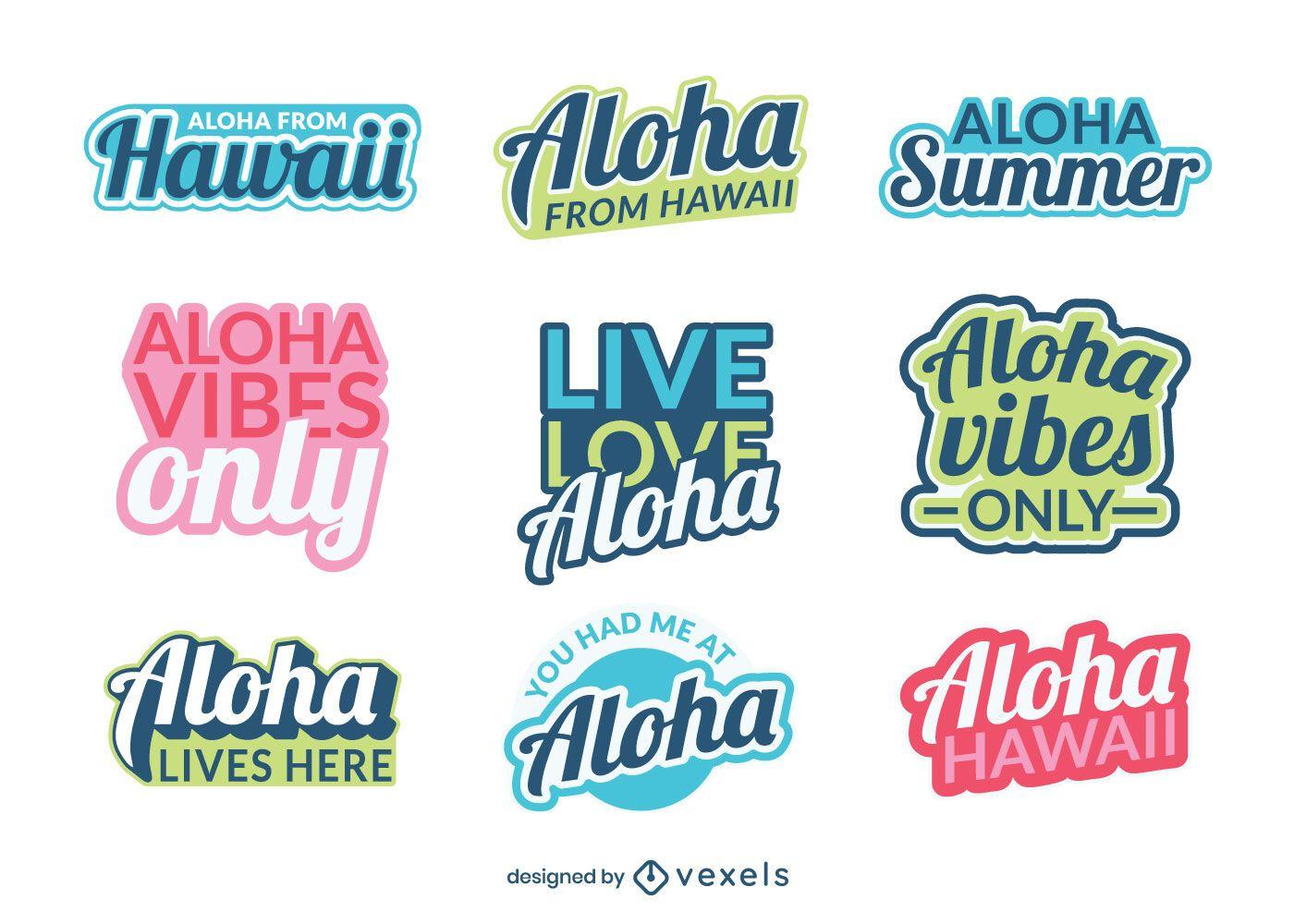 Aloha hawaii lettering set