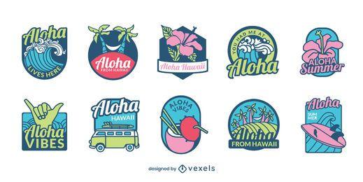Conjunto de crachá havaiano
