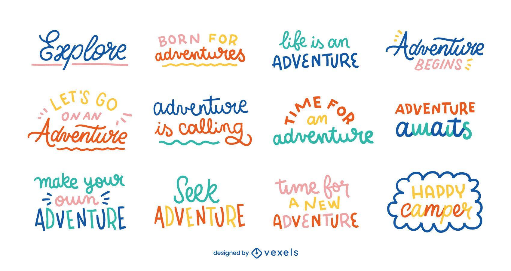 Conjunto de letras para aventura e diversão