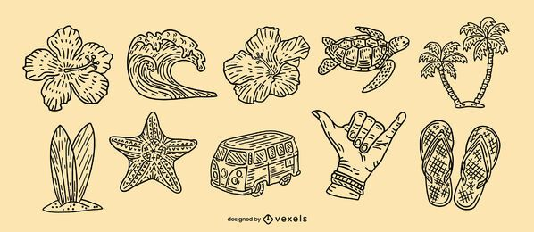 Hawaii hand-drawn element set