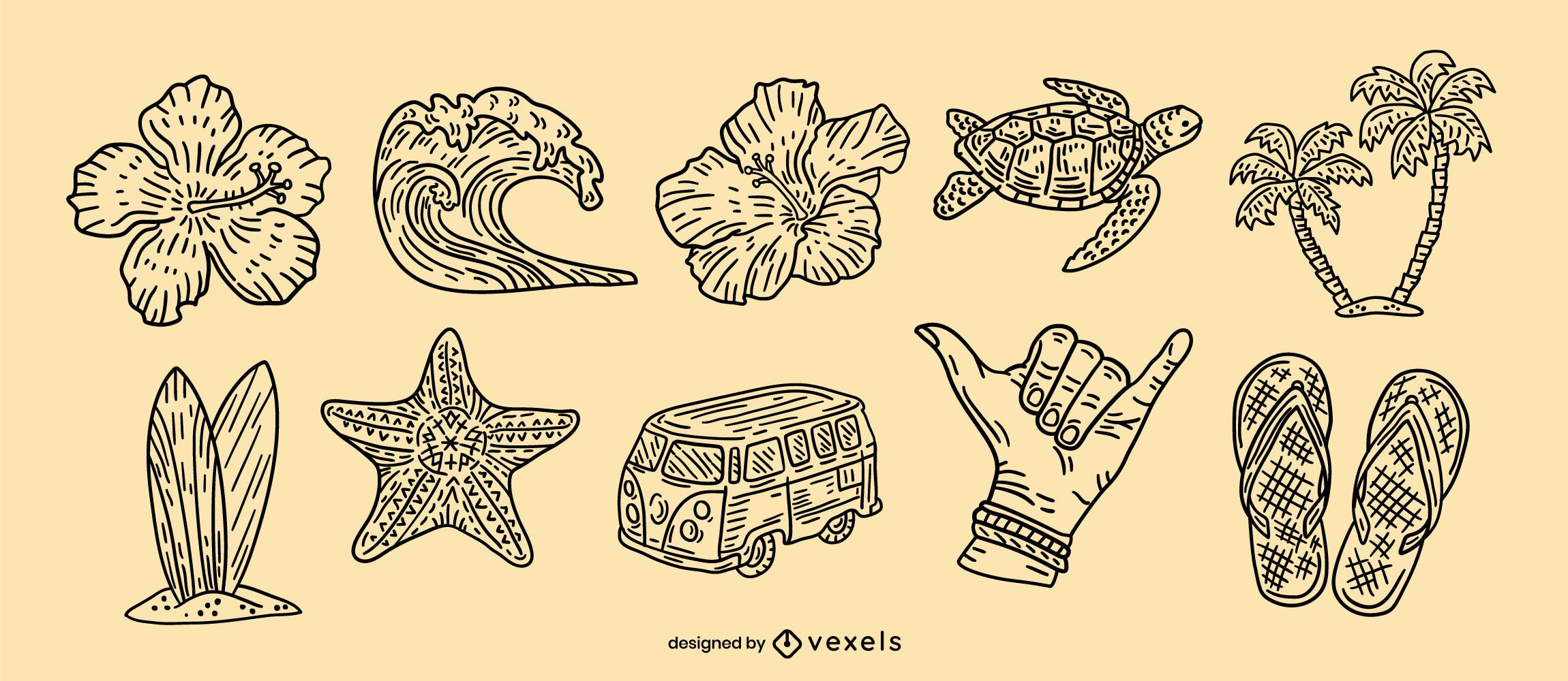 Conjunto de elementos dibujados a mano de Hawaii
