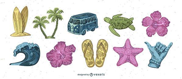 Conjunto de elementos aloha hawaii