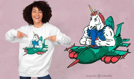 Diseño de camiseta de unicornio de combate.