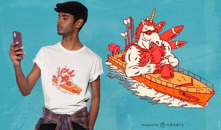 Diseño de camiseta de unicornio azul marino