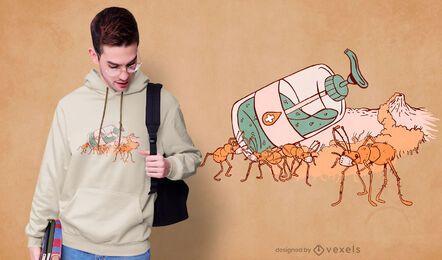 Diseño de camiseta de desinfectante de manos de hormigas.