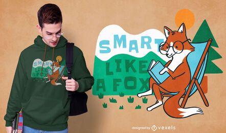 Design de camiseta raposa inteligente
