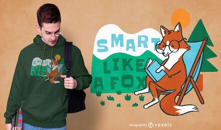 Diseño de camiseta de zorro inteligente