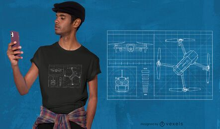 Drone blueprint t-shirt design