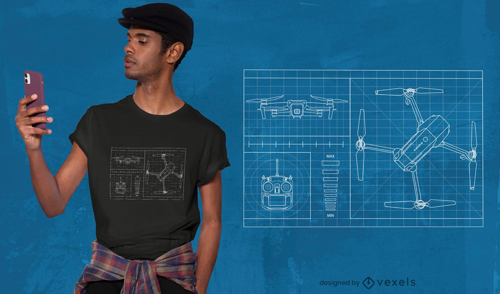Drone blueprint t-shirt design