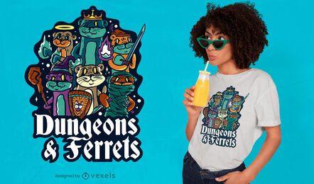 Diseño de camiseta Dungeon hurones