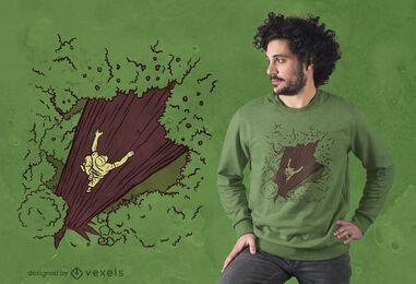 Design de camiseta para escalada em árvores