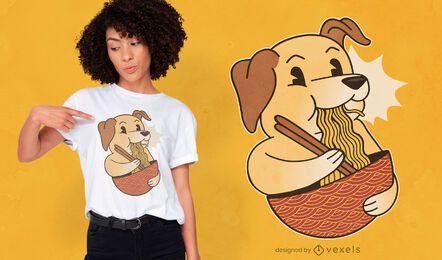 Diseño de camiseta labrador ramen