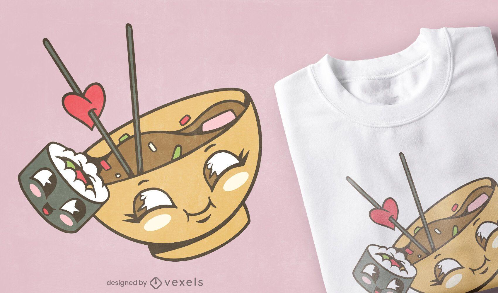 Diseño de camiseta miso sushi love