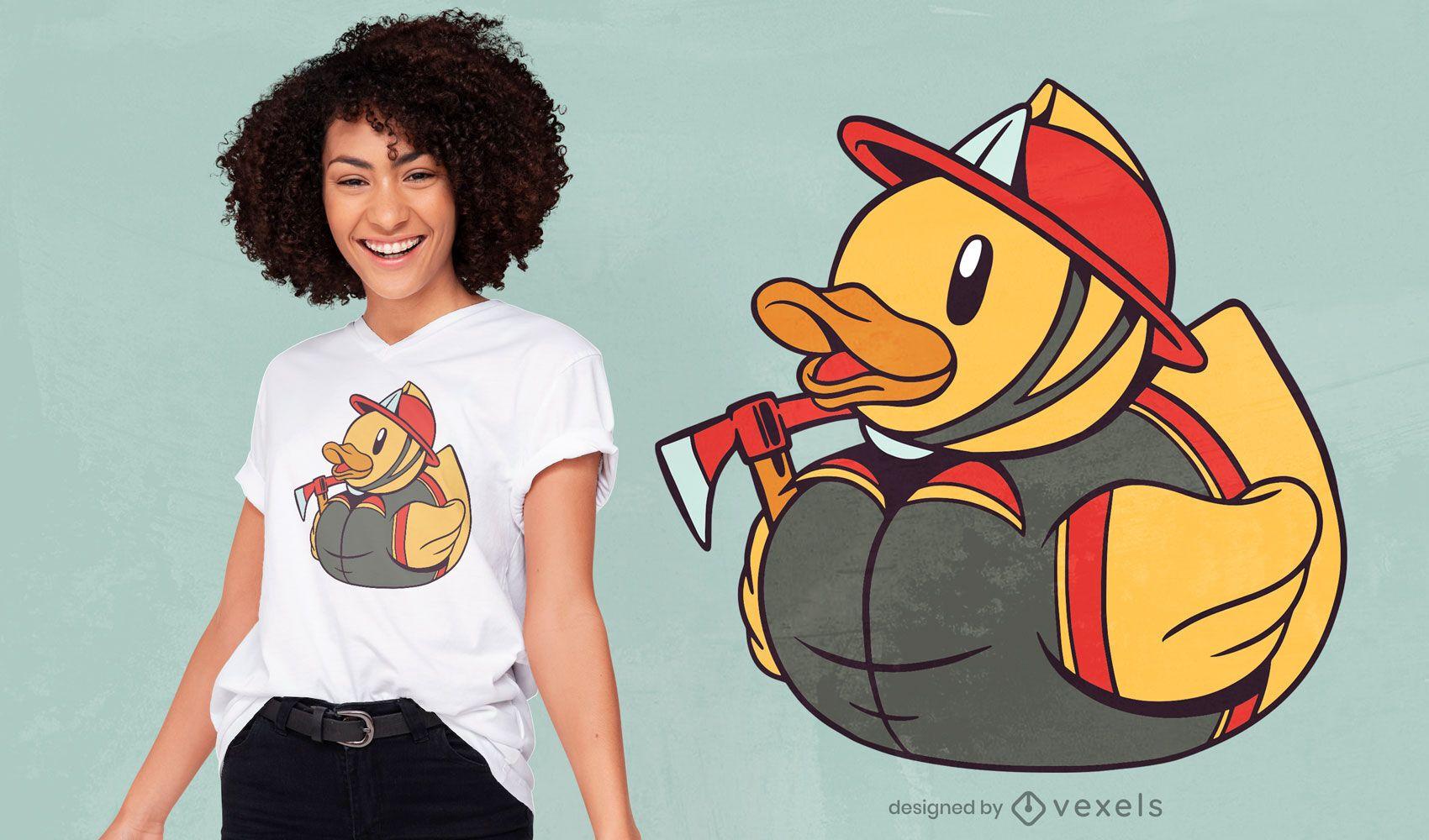 Diseño de camiseta de bombero pato de goma.