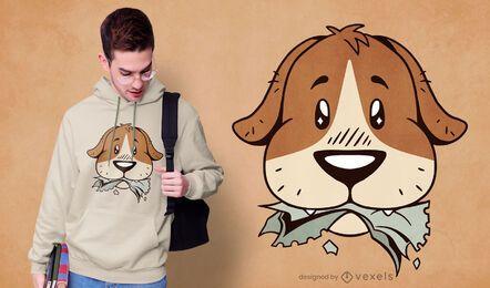Design de camiseta com dever de casa para cachorro