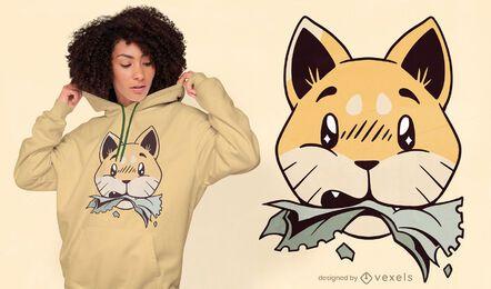Design de camiseta para gato