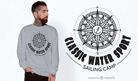 Diseño de camiseta de brújula de yate.