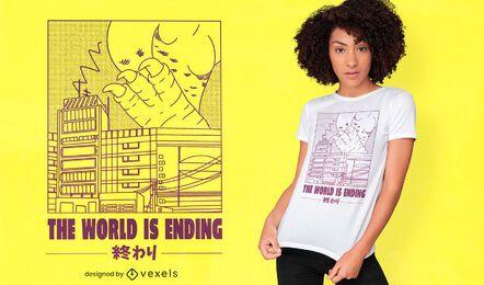 Monstro destruindo design de camiseta do Japão