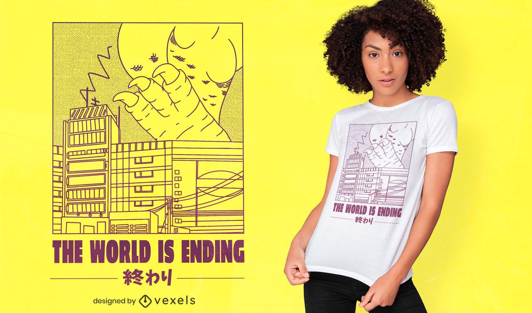 Monster destroying Japan t-shirt design