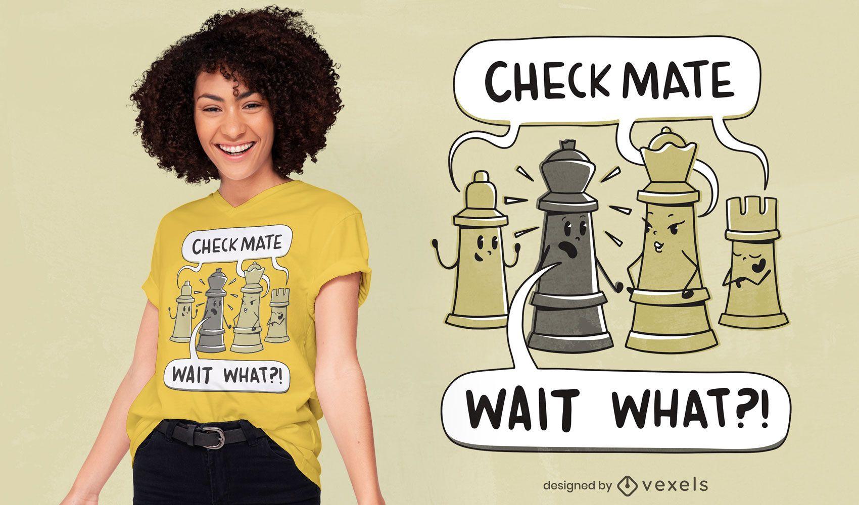 Diseño de camiseta de ajedrez jaque mate