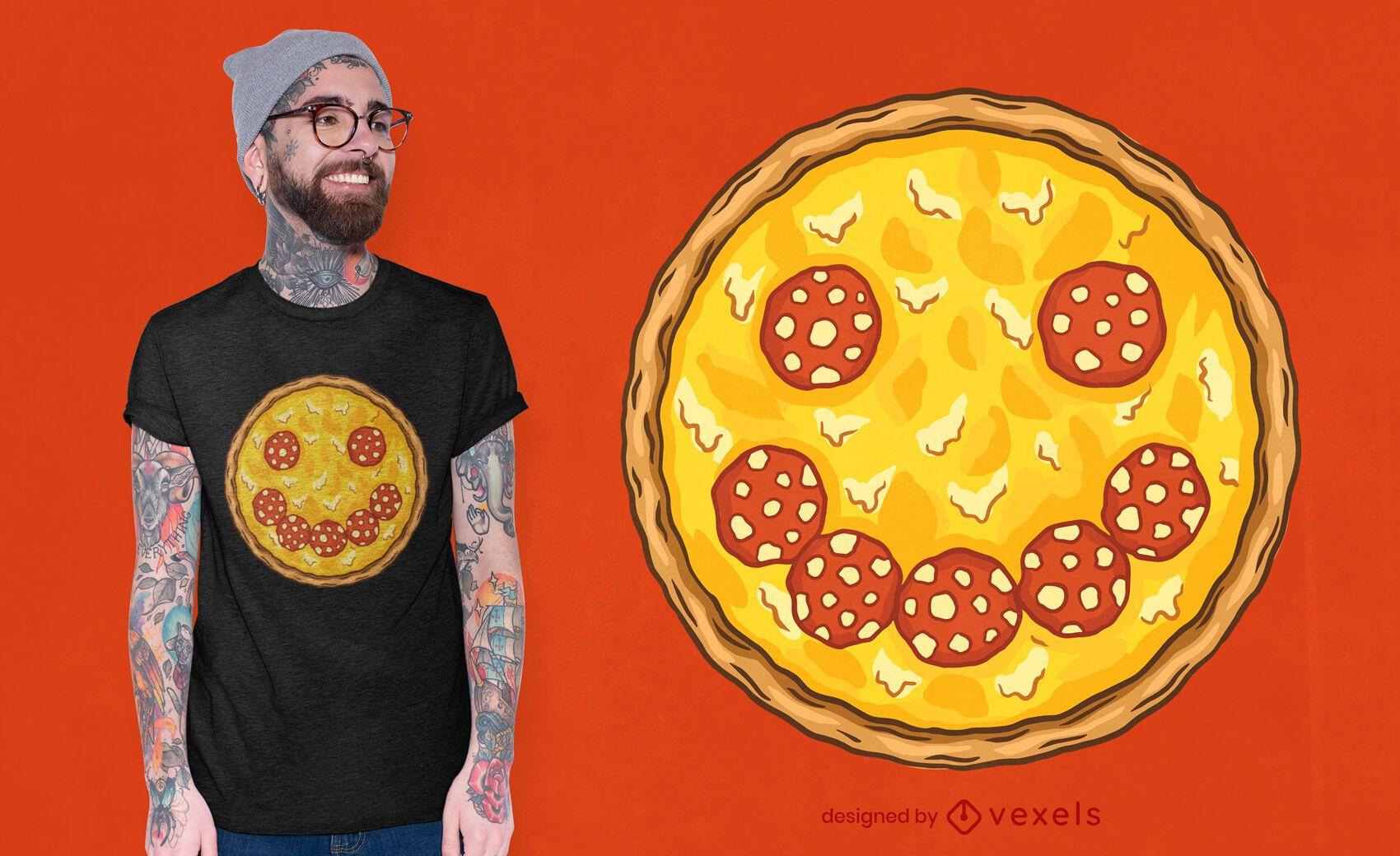 Diseño de camiseta de pizza de salami sonriente