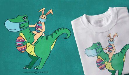 Design de camiseta t-rex do coelhinho da Páscoa