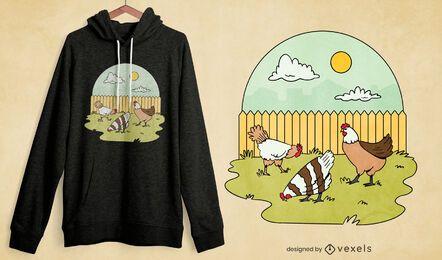 Diseño de camiseta de jardín de pollos.