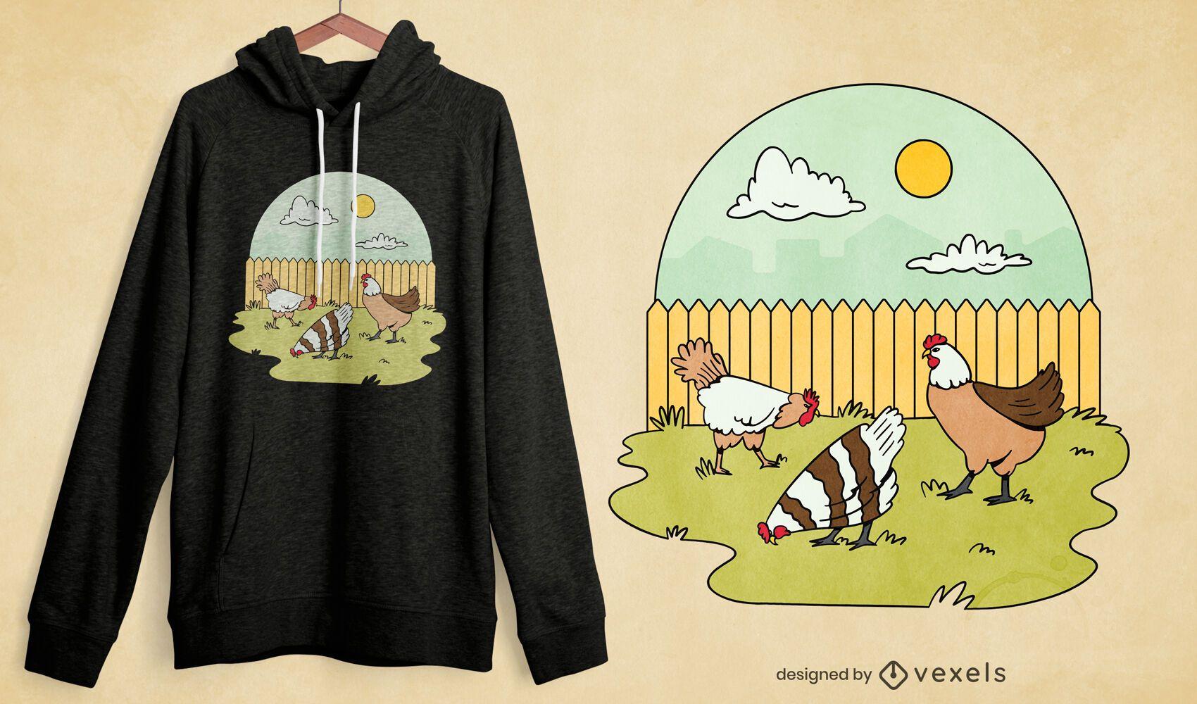 Chickens garden t-shirt design