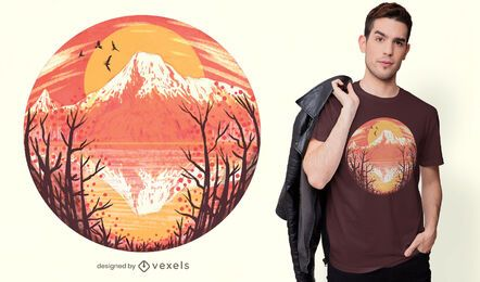 Volcano sunset t-shirt design